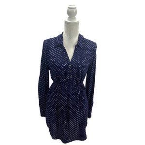 Navy & White Polka Dot Tie Waist Maternity Tunic M